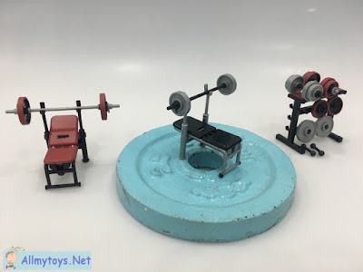 Ghachapon Miniature Toy Gym Barbell, Chair, Accessory