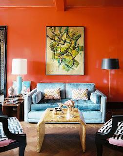salón naranja turquesa