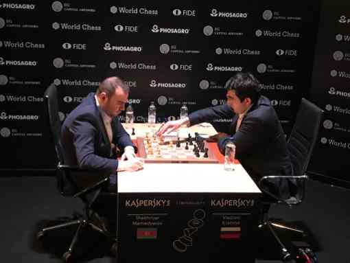 L'image clé de la ronde 6 : le face à face entre l'Azéri Shakhriyar Mamedyarov et l'ex-champion du monde russe Vladimir Kramnik - Photo © Javier Ochoa