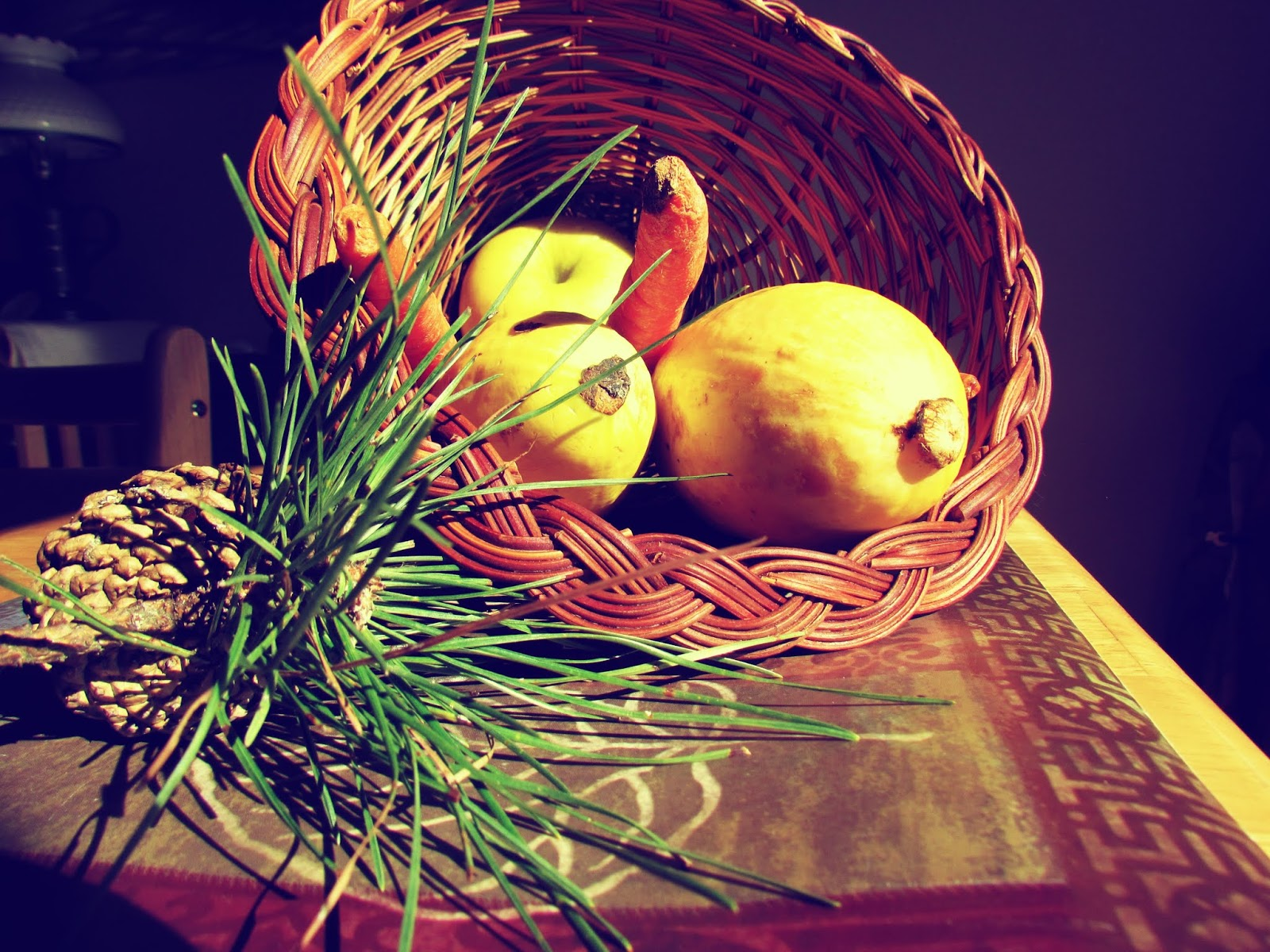 A fall harvest cornucopia basket of goodies from Goddess Abundantia
