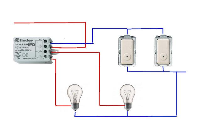 schema relè commutatore 2 punti luce