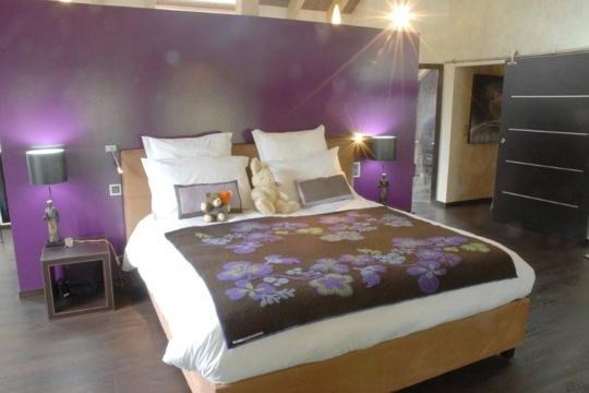 Best Home Design » chambre a coucher mauve et gris