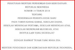 Juknis PPDB 2018 PDF - Permendikbud Nomor 14 Tahun 2018 Tentang Penerimaan Peserta Didik Baru Pada Taman Kanak-Kanak, Sekolah Dasar, Sekolah Menengah Pertama, Sekolah Menengah Atas, Sekolah Menengah Kejuruan, atau Bentuk Lain Sederajat.
