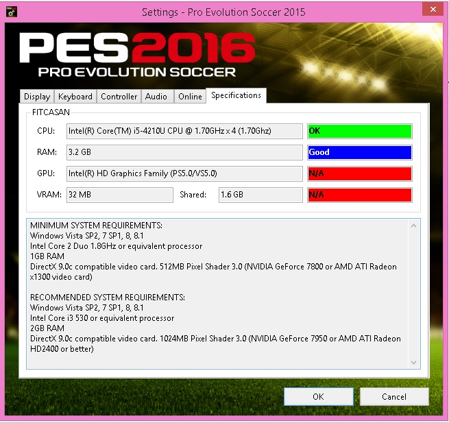 SANTARA PES: PES 2016 Settings exe Only For Check Specifications