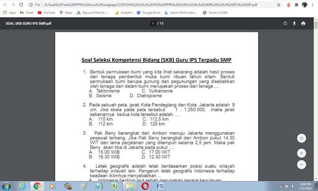 Contoh soal tes P3K guru IPS SMP lengkap dengan jawabannya