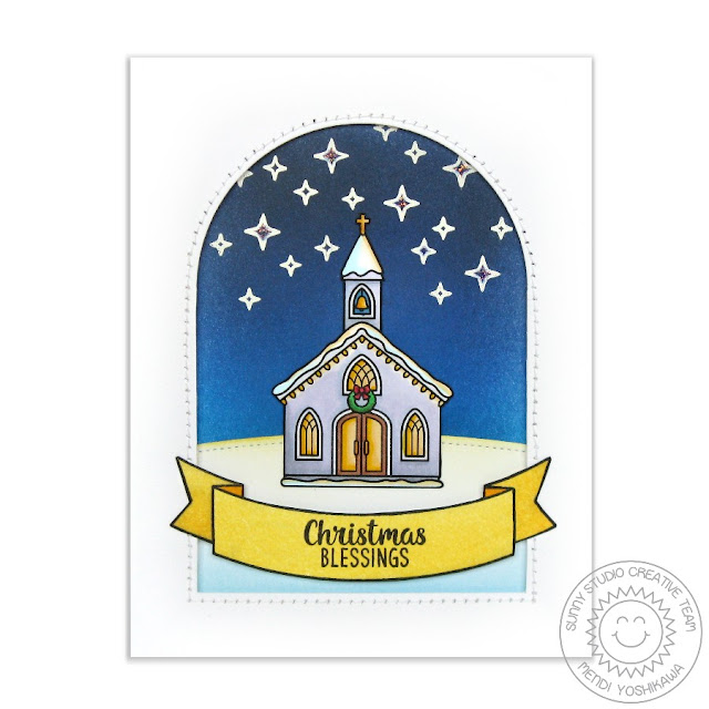 Sunny Studio Stamps: Christmas Chapel Blessings Church Card by Mendi Yoshikawa