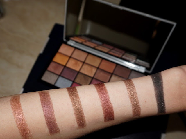 third row swatches with flash Life on the dancefloor Afterparty palette by makeup revolution