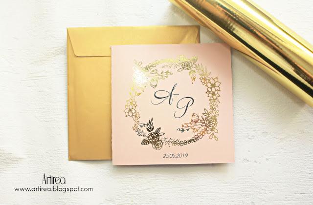 rose gold zaproszenie slubne zlote artirea rozowo zlote zaproszenie slubne pozlacane