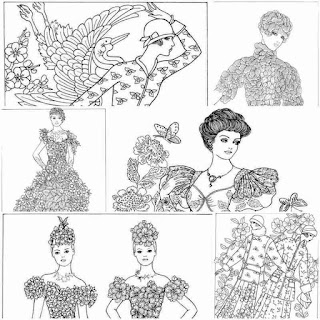 7 lady of flower printable adult coloring pages
