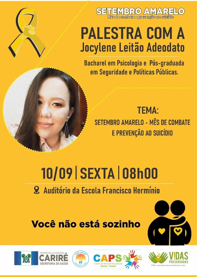 Dia 10/09, às 8h, haverá palestra sobre prevenção ao suicídio, fazendo parte da programação do 'Setembro Amarelo' 2021
