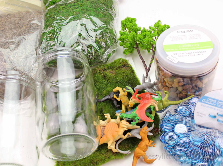 Dinosaur garden in a jar supplies