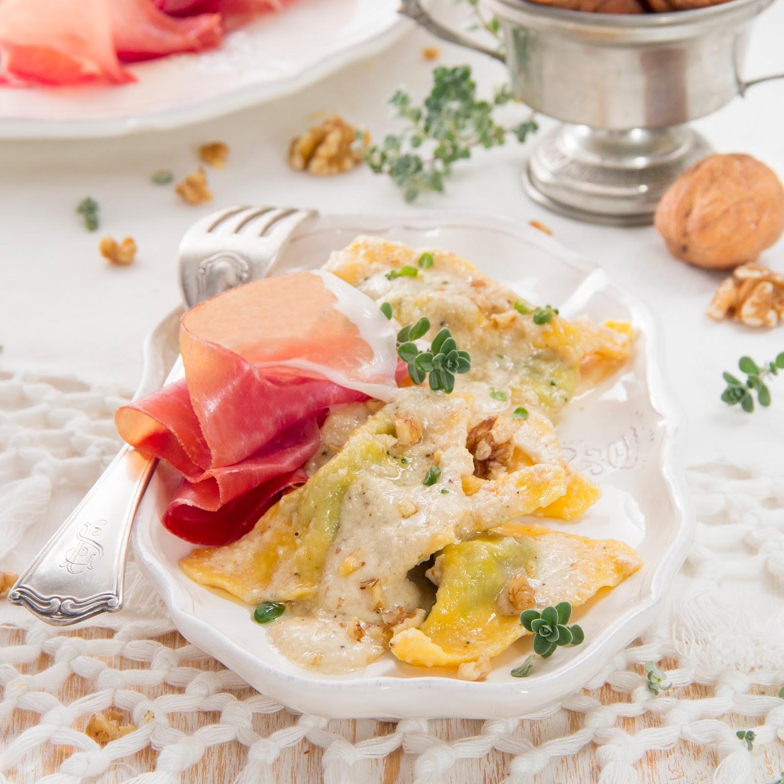 Ravioli With Walnut Pesto And Parma Ham