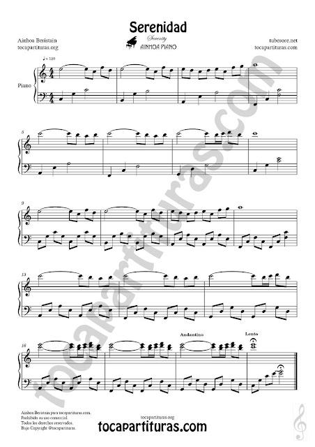 Partitura de Piano de la composición Serenidad de Ainhoa (Piano Sheet Music Serenity by Ainhoa Piano