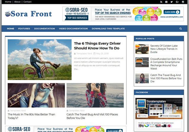 Sora Front responsive blogger template
