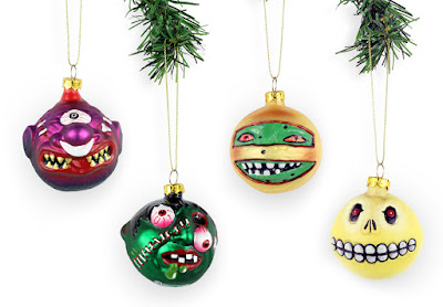 Madballs Holiday Ornaments by Mondo x Middle of Beyond - Horn Head, Slobulus, Dust Brain & Skull Face