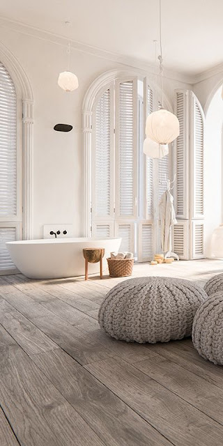 Modern luxury bathroom freestanding tub shutters minimal sophisticated interior design by Piet Boon