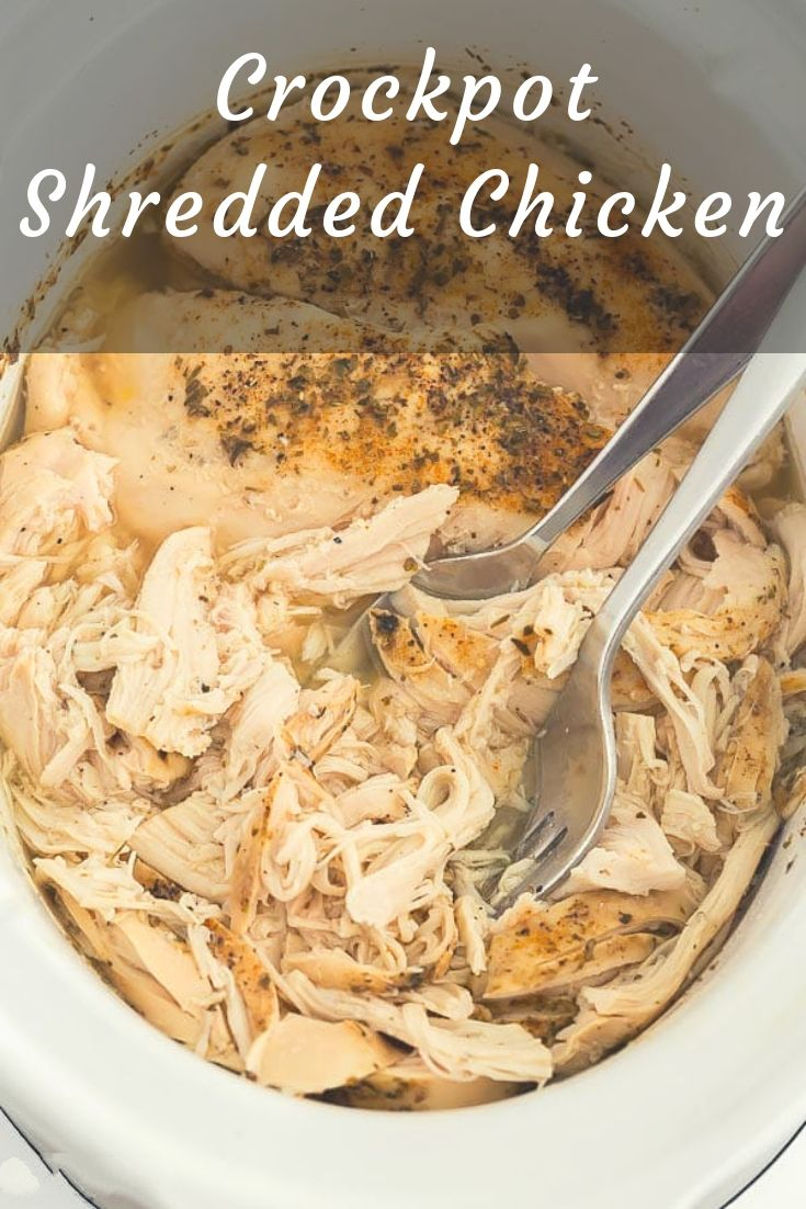 This Crockpot Shredded Chicken is easy, flavorful and a great way to meal prep for the week ahead! How to make shredded chicken in the slow cooker including tips, tricks and shredded chicken recipes.