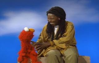 Elmo likes Whoopie Goldberg's skin that is pretty brown and her bouncy hair. Sesame Street The Best of Elmo