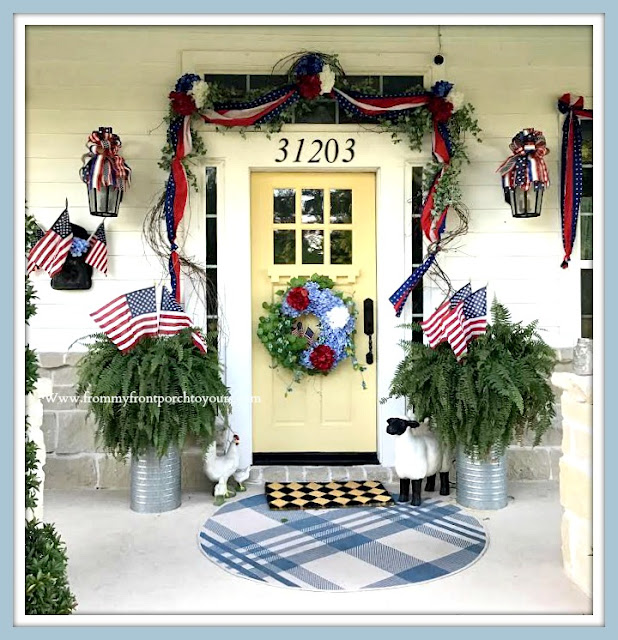 Patriotic- Porch -Decor-Cottage-Farmhouse-Yellow-Front-Door-Ferns-flags-DIY-bows-hydrangeas-red-white-blue-From My Front Porch To Yours