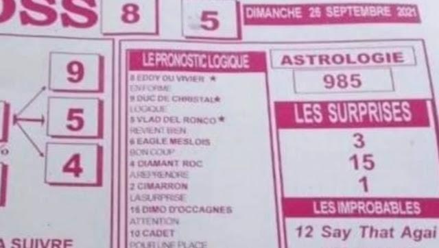 Pronostics quinté pmu dimanche Paris-Turf TV-100 % 26/09/2021