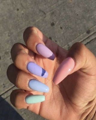 Nails of pastel colors coffin