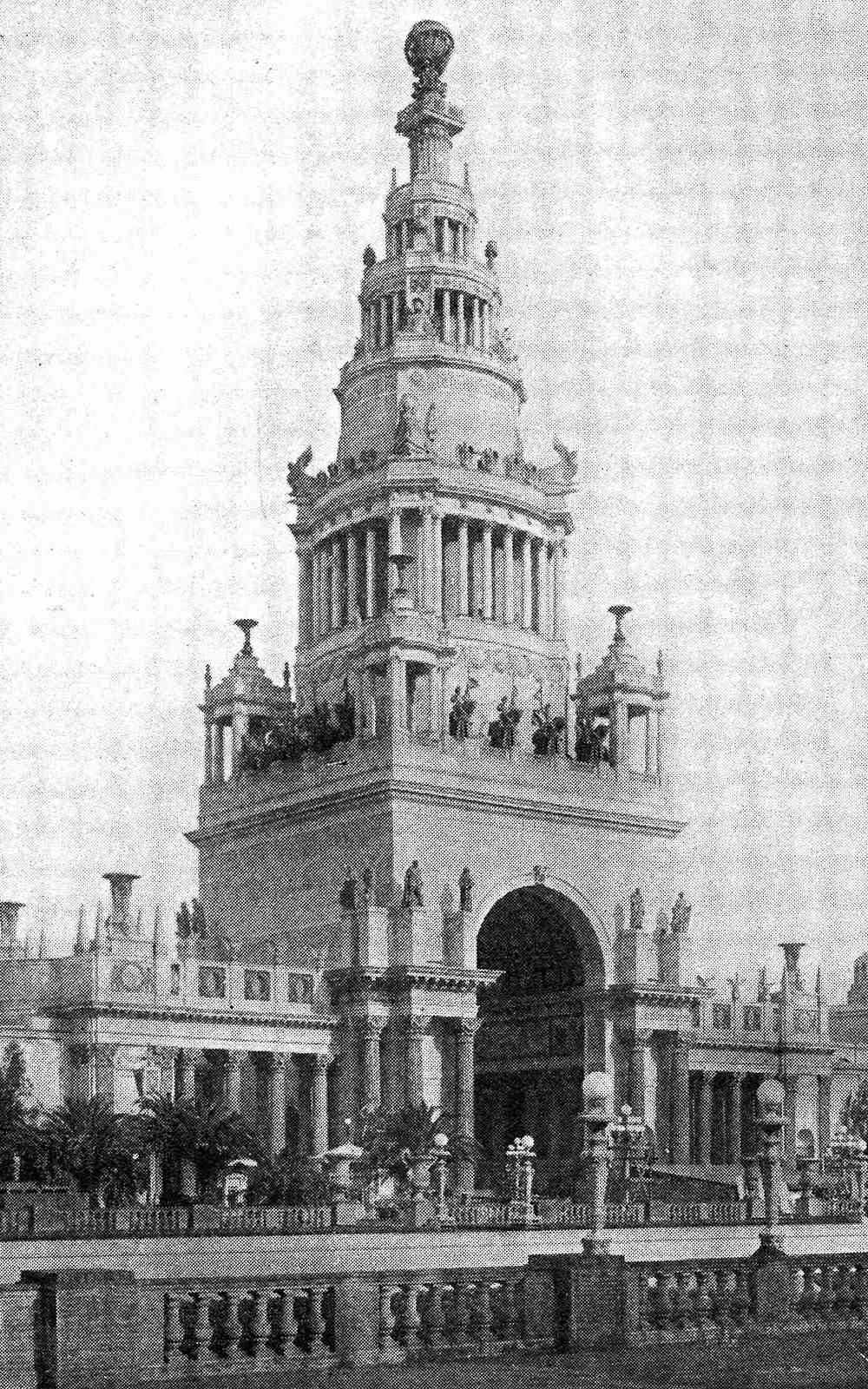 1915 pan pacific expo photo of the Tower of Jewels