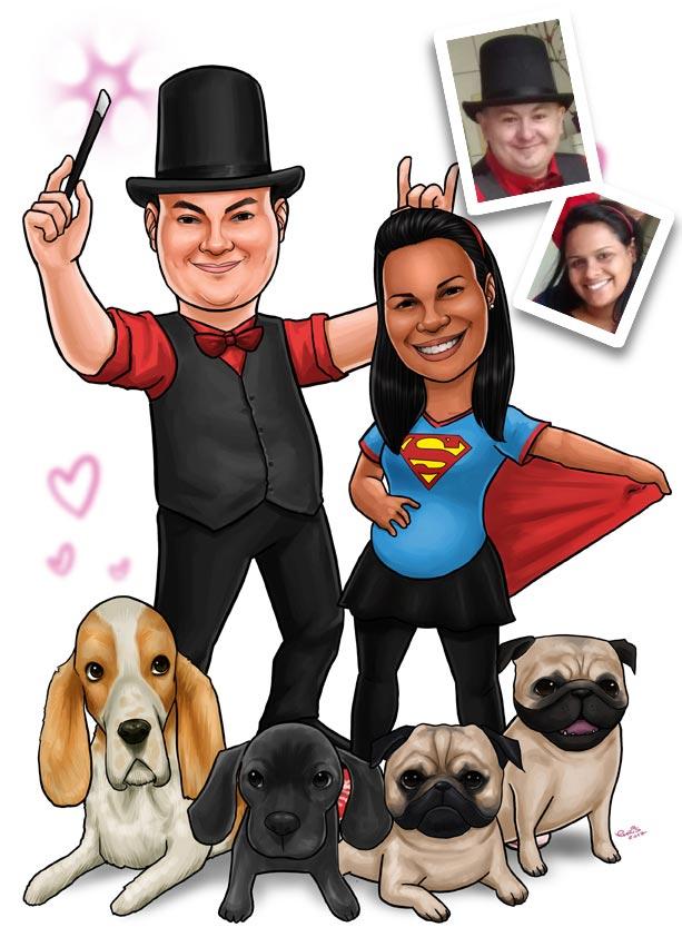 caricatura casal sao paulo sp