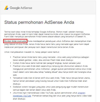 Solusi Mengatasi Konten Tidak Memadai Pada Permohonan Google Adsense