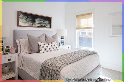 غرفة نوم ابيض ورمادي مع الوان اخرى