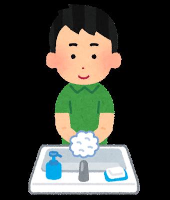 手を洗う男性のイラスト