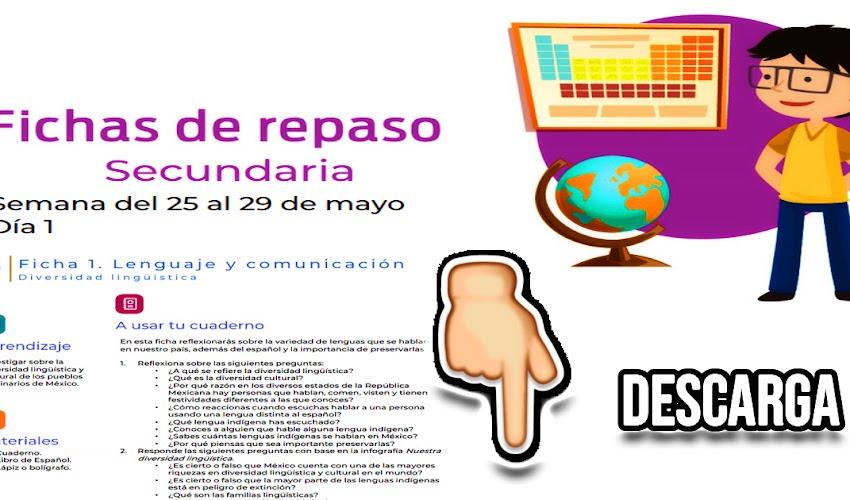 SECUNDARIA: Fichas de repaso en 📝 PDF 25 al 29 de mayo de 2020  📆 👇