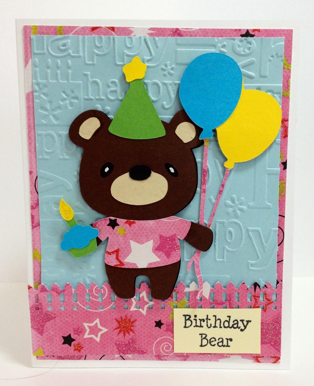 marilyn's cricut cards  teddy bear parade  birthday
