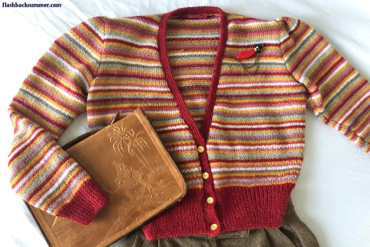 Flashback Summer: 1940s Scrap Yarn Sweater - Sun-Glo, On Duty Cardigan