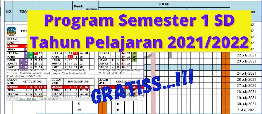 Program Semester Kelas 1 - 6 Semester 1 Tahun Pelajaran 2021/2022