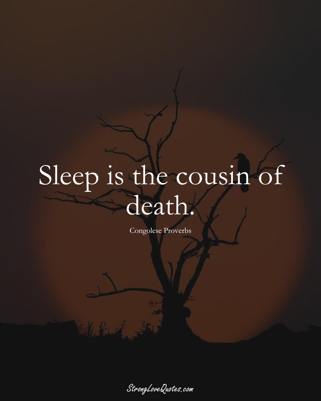 Sleep is the cousin of death. (Congolese Sayings);  #AfricanSayings