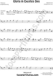 Trombón, Tuba Elicón y Bombardino Partitura de Gloria in excelsis deo Villancico Sheet Music for Trombone, Tube, Euphonium Music Scores (tuba en 8ª baja)