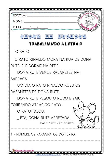 1º ano, 2º ano, Atividades de alfabetização 1 ano, Texto e interpretação, Texto e interpretação 1 ano, Letra R, Atividades com a família silábica da letra R,