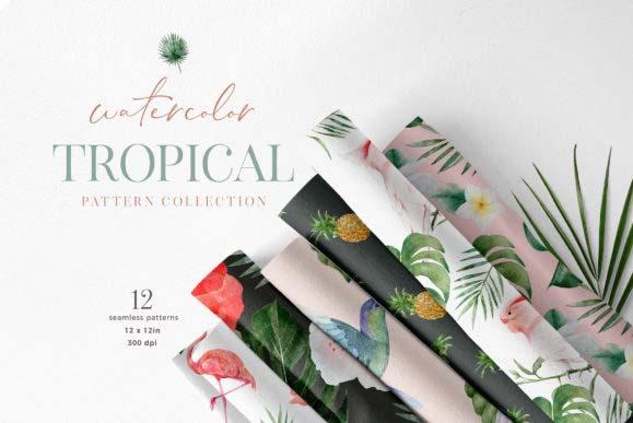 Tropical Watercolor Flower Bird Pattern