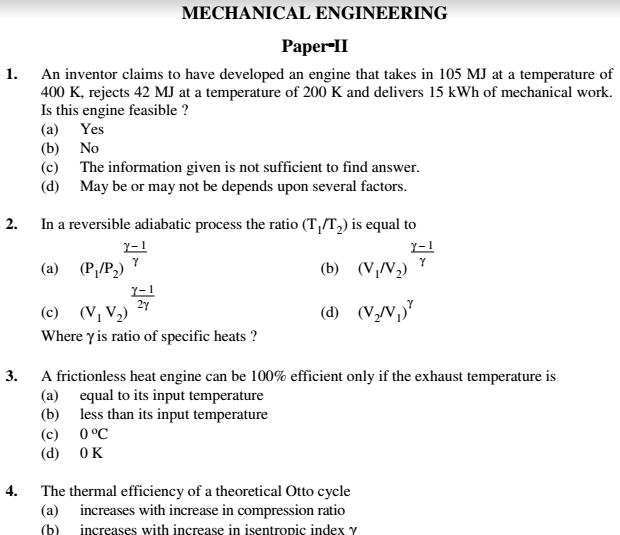 Mechanical Engineering Paper 2 English Hindi Previous Question ...