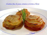 Laminas finas de patata aromática en terrina al horno