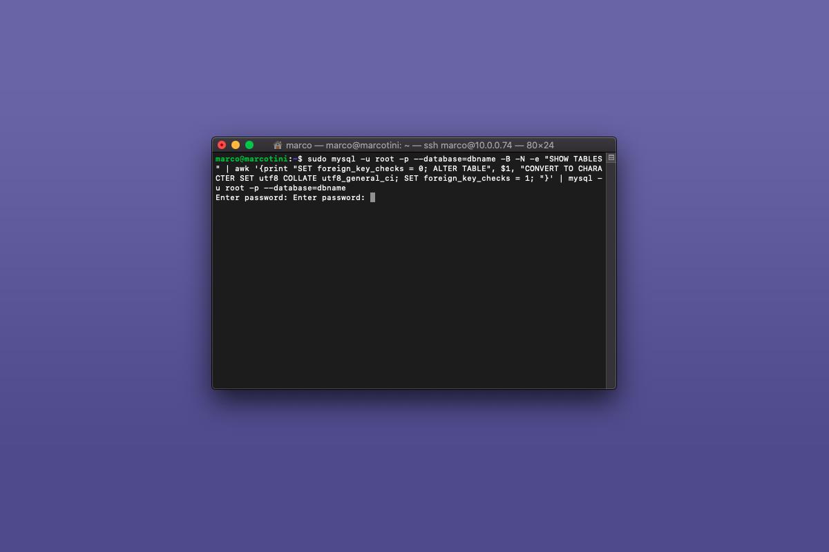 Come convertire un intero database da latin1 a utf8