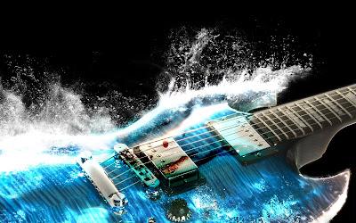 Guitarra eléctrica azul con partículas de agua alrededor