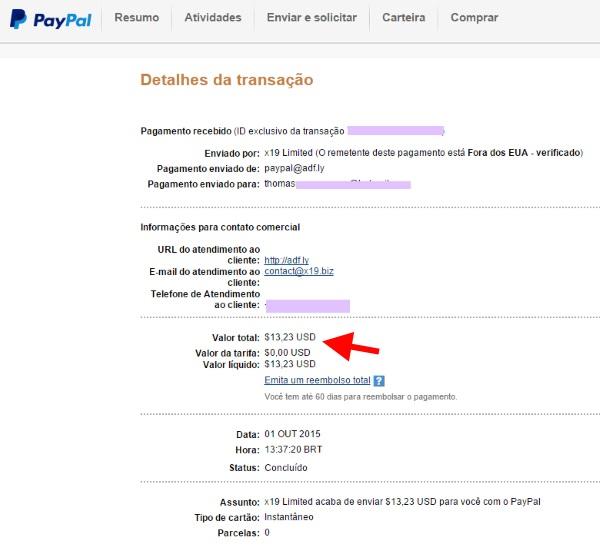 Paypal pagamento AdF.ly