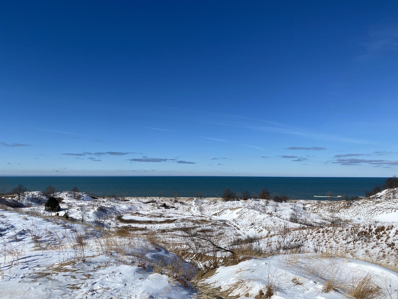 Lake Michigan dunes in winter
