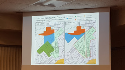 map showing the zoning change for the Union/Cottage street area