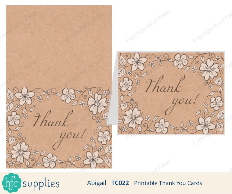 Printable Thank you Cards 'Abigail' hand drawn flower and leaf design with kraft background on hfcSupplies Etsy by hazelfishercreations