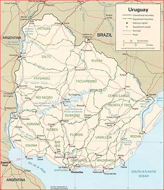 Gambar Peta politik Uruguay
