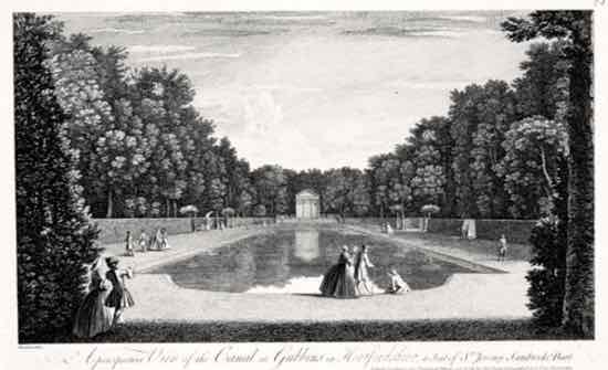Figure 2. 'A perspective View of the Canal at Gubbins in Hertfordshire, a seat of  Sr. Jeremy Sambrooke Bart.', an engraving (1748) by Jean Baptiste Chatelain.  Courtesy: St Albans Museums (Permission to use image pending)