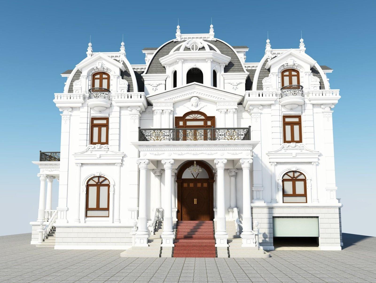 Phối cảnh thiết kế Biệt thự cổ điển 3 tầng