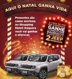 Promoção Shopping Itaquera Natal 2019 Ganhe Chocotone e Concorra 2 Jeep Renegade
